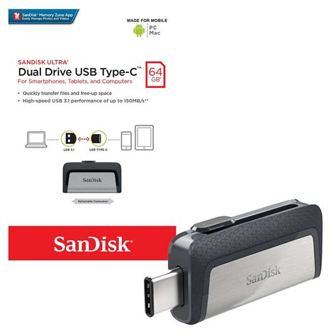 Flashdisk Sandisk Ultra Dual Otg Flash Drive Usb 3 0 32 Gb sandisk ultra dual drive otg usb 3 0 type c 64gb 7dayshop