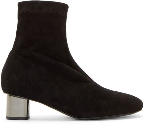 robert clergerie black suede pili ankle boots in black lyst