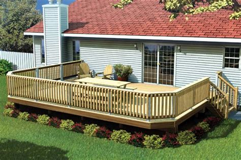 home deck plans project plan 90032 fancy raised deck