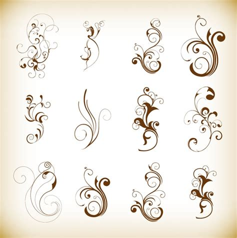 Floral Decorative swirl floral decorative pattern elements vector set free