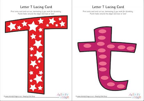 Alphabet Lacing Cards Templates by Letter T Lacing Card