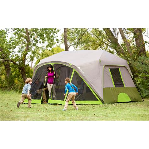 cabin tent with screen room ozark trail 9 person 2 room instant cabin tent with screen room ebay