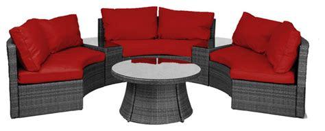 half moon chair cushions reef rattan half moon 6 pc curved bench sofa set grey