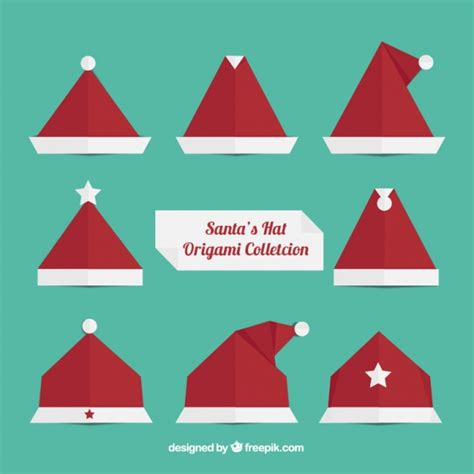 How To Make An Origami Santa Hat - origami santa claus hats vector free