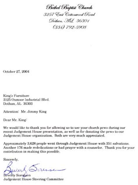 Thank You Letter For Donation Of Furniture Thank You From Church For Donation New Calendar Template Site
