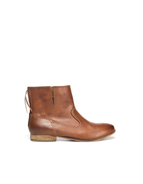 brown flat boots zara flat ankle boot with zip in brown lyst