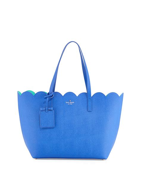 Kate Spade Safiona 2in1 kate spade avenue carrigan saffiano scalloped tote bag in blue island lyst