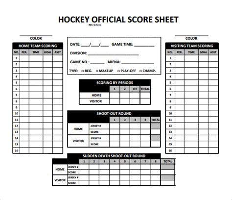 hockey player card template 8 hockey score sheet templates sle templates