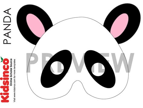 panda template animal masks templates k i d s i n co free