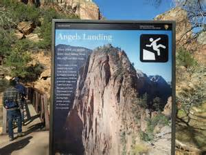 Start of angel s landing hike informing that 6 people have died since