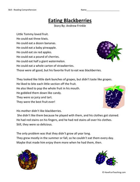 Free Reading Worksheets For 3rd Grade by Reading Comprehension Worksheet Blackberries