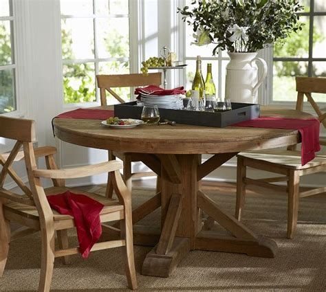 Benchwright Fixed Dining Table Benchwright Fixed Pedestal Dining Table Wax Pine Finish Pottery Barn Rustic
