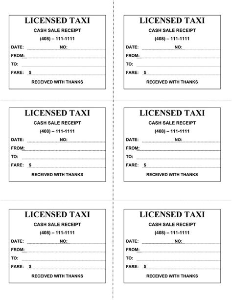 cab receipt template word taxi receipt form