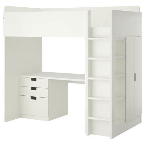 Stuva Loft Bed Combo W 3 Drawers 2 Doors White 207x99x193 Bed Desk Ikea