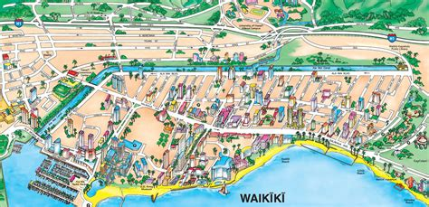 printable map honolulu holiday inn waikiki beachcomber resort is the yellow