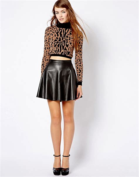 new look new look leather look skater skirt at asos