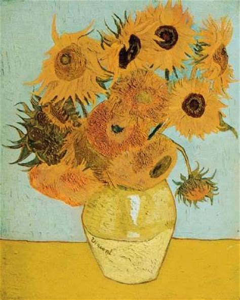 still vase with twelve sunflowers by vincent