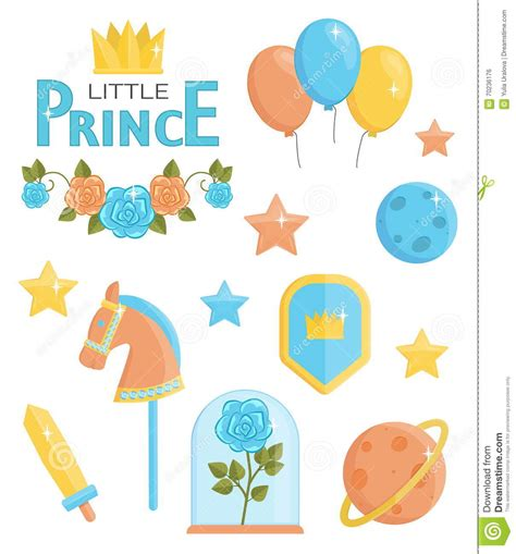 event design elements cute little prince icons stock vector image 70236176
