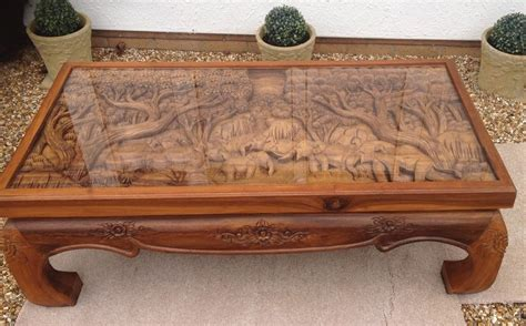 elephant table glass top solid wood carved elephant coffee table with