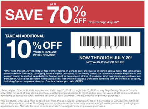 printable factory outlet coupons gap factory store save 10 off purchase of 75 or more