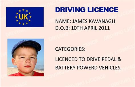 kids novelty driving licence gb