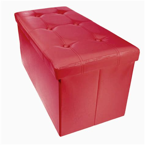 Ottoman Storage Bench Storage Bench Ottoman Faux Leather Foldable Collapsible Foot Rest Coffee Table Ebay
