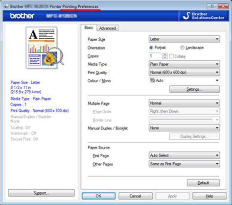 reset all printer settings windows 7 change the printer driver settings for windows 174 brother