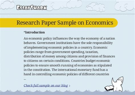 introduction for a research paper exles research paper sle on economics and research paper