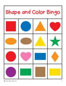 color shapes shapes and colors bingo cards 4x4 sallieborrink