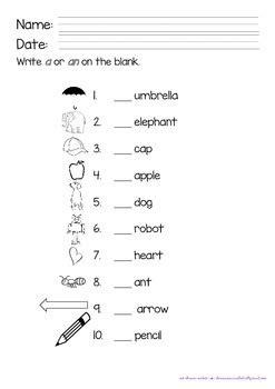 articles a and an worksheet by preschool teachers