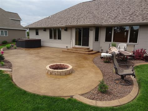stylish sted concrete patio with pit as ideas and