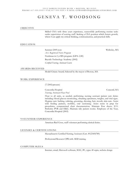 Sle Resume For A Nursing Assistant Healthcare Resume Free Cna Resume Sles Cna Resume Sle Skills Cover Letter For