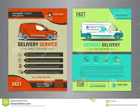 delivery flyer template set of express delivery service brochure flyer design