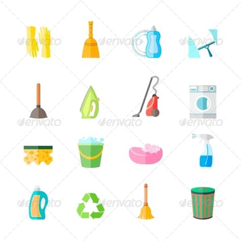 emoji for cleaning graphicriver cleaning icons set 7545068