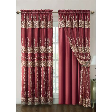 valance attached curtains vcny darius curtain panel with attached valance and satin