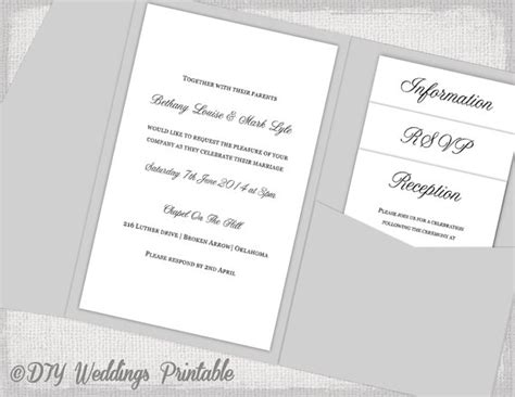 pocket card template word pocket wedding invitations template diy pocketfold wedding