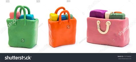 assorted shopping bags made of clay stock photo 157794050