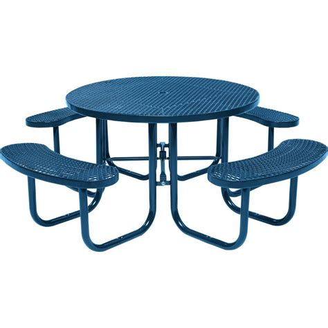 tradewinds outdoor furniture tradewinds park 46 in blue commercial picnic table hd d051gs bl the home depot