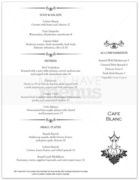 chandelier fine dining menu page 1