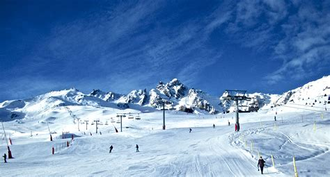 ski piste in the ski resort of courchevel france