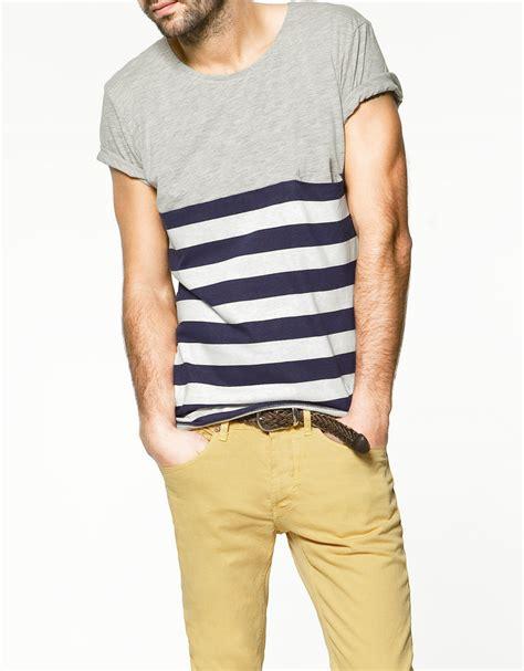 Zaraman Cotton Shirt zara plain striped t shirt in gray for grey lyst