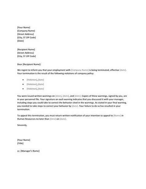 Service Letter To Employee Letter Of Termination Due To Policy Is Service