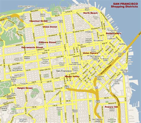 san francisco map map san francisco shopping districts sfbayshop by www sfbayshop