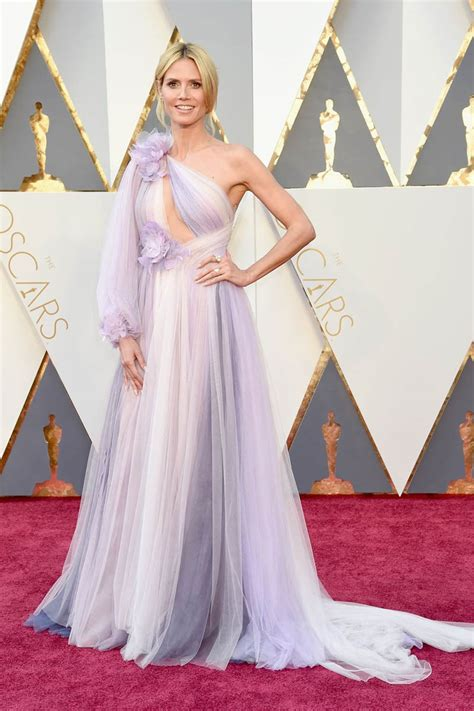 Which Heidi Klum Oscar Gown Was The Most Fab by Heidi Klum One Sleeve Lavender Tulle Unique Prom