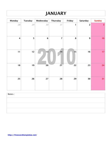 2010 monthly calendar word templates free word