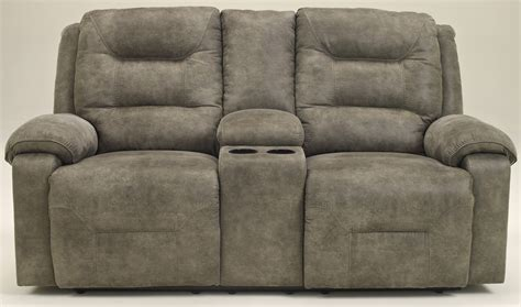 ashley furniture dual reclining sofa rotation smoke double reclining loveseat with console from