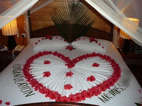 Bed Decoration on our special day!   Picture of Meeru