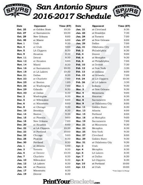 Spurs Schedule 2016 17 Printable