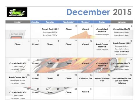 rug schedule december race schedule for the rug r c tech forums