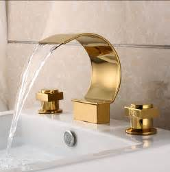 gold plated brass three sets of bathroom sink waterfall